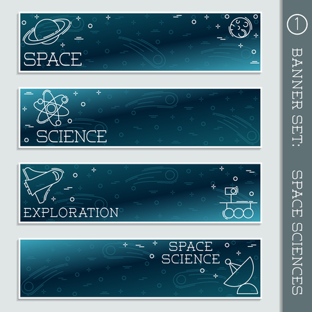 moon rover: Set of  4 elegant thin line style flat icons with a space science theme. Graphics are grouped and in several layers for easy editing. The file can be scaled to any size.
