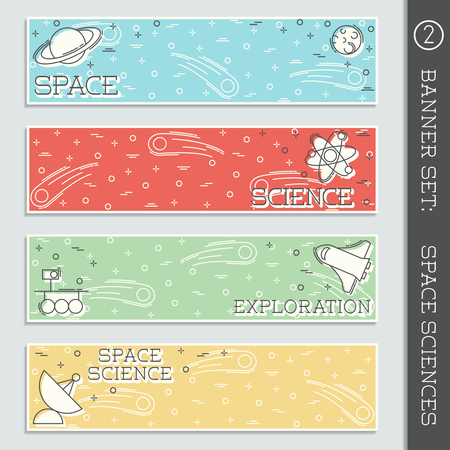 any size: Set of  4 colorful thin line style flat icons with a space science theme. Graphics are grouped and in several layers for easy editing. The file can be scaled to any size. Illustration