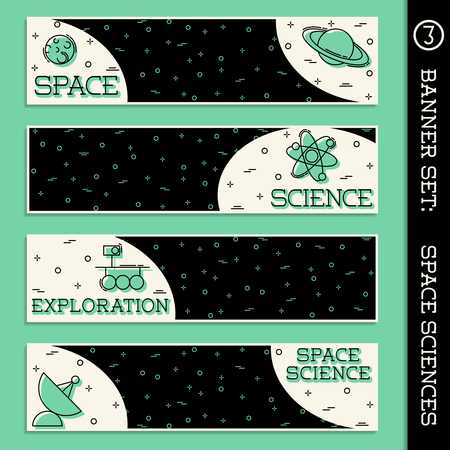 Set of  4 retro thin line style flat icons with a space science theme. Graphics are grouped and in several layers for easy editing. The file can be scaled to any size. Reklamní fotografie - 79220077