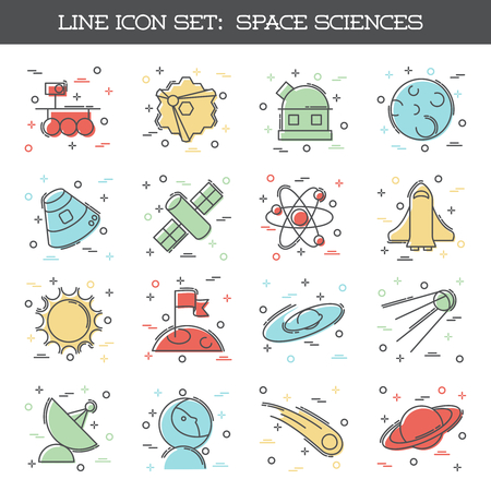 Set of 16 colorful thin line style flat icons with a space science theme. Graphics are grouped and in several layers for easy editing. The file can be scaled to any size. Reklamní fotografie - 79220082
