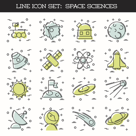 spaceflight: Set of 16 retro thin line style flat icons with a space science theme. Graphics are grouped and in several layers for easy editing. The file can be scaled to any size. Illustration