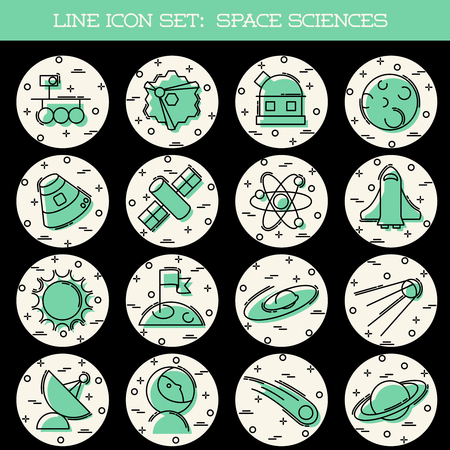 Set of 16 retro thin line style flat icons with a space science theme. Graphics are grouped and in several layers for easy editing. The file can be scaled to any size. Reklamní fotografie - 79220095