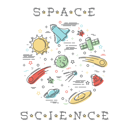 spaceflight: Colorful stylized illustration of Space Science elements. Graphics are grouped and in several layers for easy editing. The file can be scaled to any size.