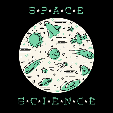 Retro stylized illustration of Space Science elements. Graphics are grouped and in several layers for easy editing. The file can be scaled to any size. Reklamní fotografie - 79220096
