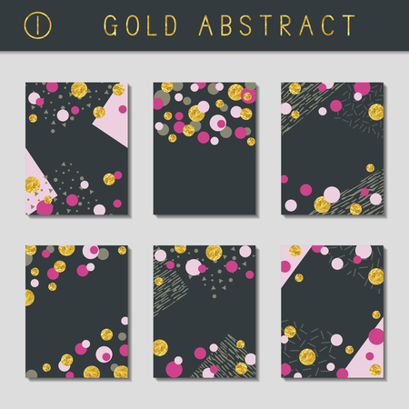 Set of 6 abstract brochure designs with gold metallic elements. US Letter size. Easily croppable to A4 size. Graphics are grouped and in several layers for easy editing. The file can be scaled to any size. Reklamní fotografie - 80310000