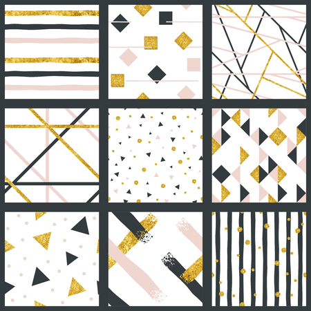 9 elegant abstract seamless patterns with metallic gold elements. Graphics are grouped and in several layers for easy editing. The file can be scaled to any size. Reklamní fotografie - 80427608