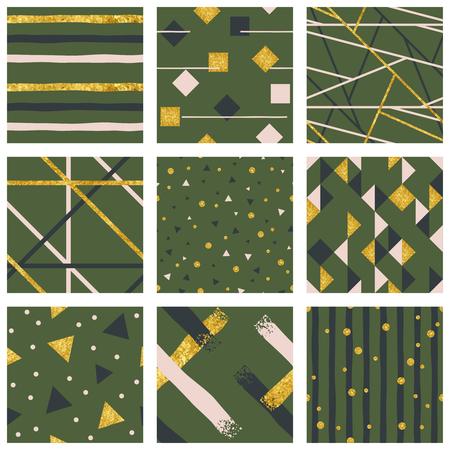 금속 골드 요소와 9 우아한 추상 원활한 패턴. 쉽게 편집 할 수 있도록 그래픽이 여러 레이어에 그룹화되어 있습니다. 파일은 크기에 관계없이 크기를