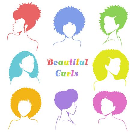 Conjunto de 8 bustos estilizados de mujeres con cabello rizado natural. Los gráficos están agrupados y en varias capas para facilitar la edición. El archivo se puede escalar a cualquier tamaño. Ilustración de vector