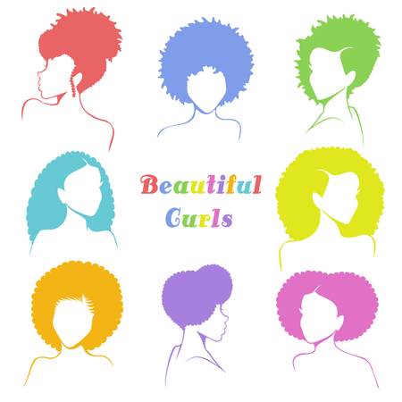 Set of 8 stylized busts of women with natural curly hair. Graphics are grouped and in several layers for easy editing. The file can be scaled to any size.