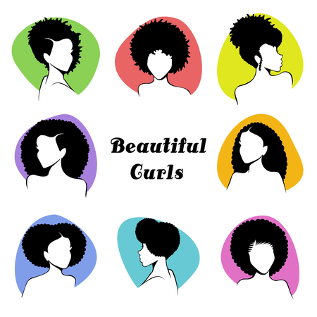 Set of 8 stylized busts of women with natural curly hair. Graphics are grouped and in several layers for easy editing. The file can be scaled to any size. Reklamní fotografie - 80632620