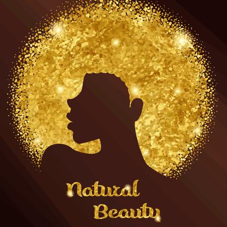 Design élégant en or et en bronze avec silhouette d'une femme noire aux cheveux naturels. Les graphiques sont regroupés et en plusieurs couches pour faciliter l'édition. Le fichier peut être mis à l'échelle à n'importe quelle taille. Banque d'images - 83207630