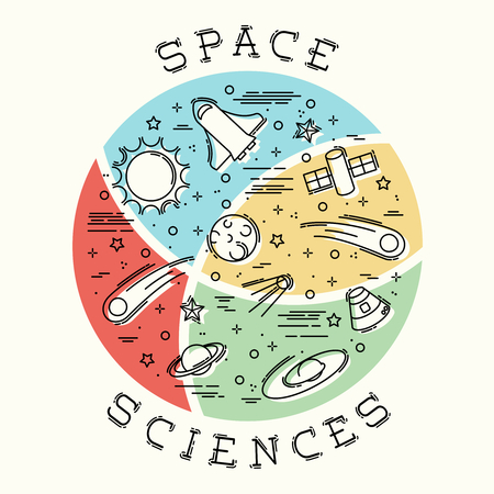 any size: Stylized illustration of Space Science elements. Graphics are grouped and in several layers for easy editing. The file can be scaled to any size.