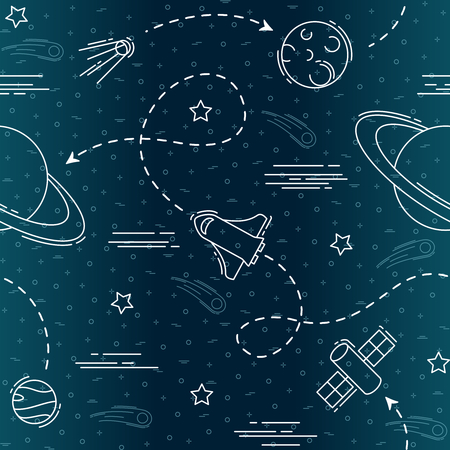 Stylized seamless pattern of space flight & exploration elements. Graphics are grouped and in several layers for easy editing. The file can be scaled to any size. Reklamní fotografie - 83168556