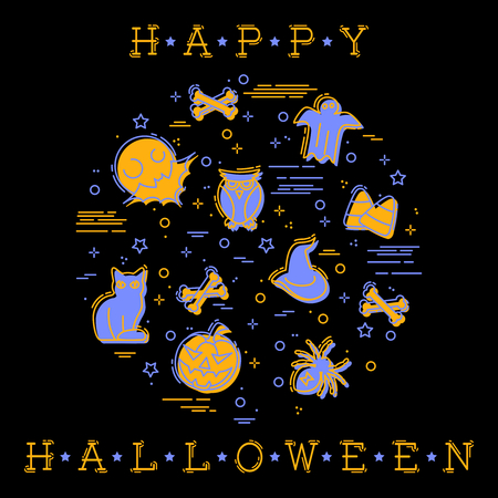 Stylized illustration of Halloween elements. Graphics are grouped and in several layers for easy editing. Reklamní fotografie - 84328912
