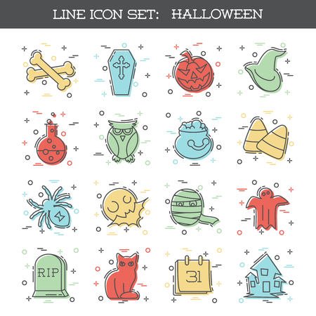 Set of 16 thin line style flat icons with a Halloween theme. Reklamní fotografie - 84328911