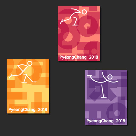Three letter-size banners of ice skating competitions featured in the Olympic games. Graphics are grouped and in several layers for easy editing. The file can be scaled to any size. Reklamní fotografie - 93136574