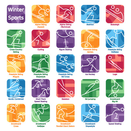Set of 24 icons of winter sports featured in the Olympic games. Graphics are grouped and in several layers for easy editing. The file can be scaled to any size. Reklamní fotografie - 93136573