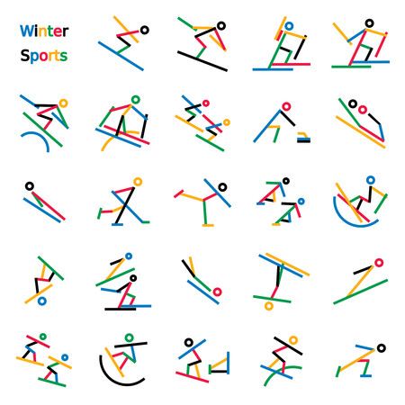 Set of colorful stick figures of winter sports. Graphics are grouped and in several layers for easy editing. The file can be scaled to any size.