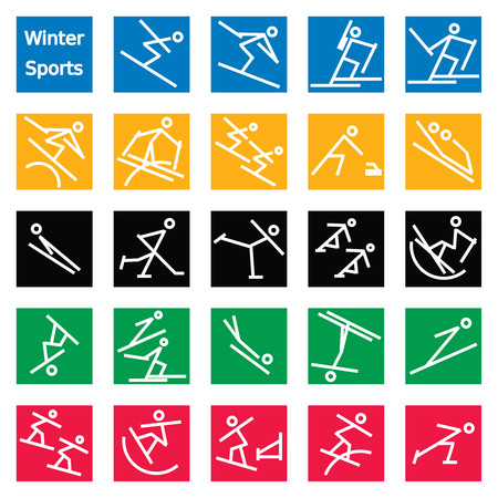 Set of 24 colorful stick figures of sports featured in the winter games. Graphics are grouped and in several layers for easy editing. The file can be scaled to any size. Reklamní fotografie - 93694382