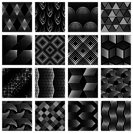 16 seamless patterns made of halftone-like sets of dots. Graphics are grouped and in several layers for easy editing. The file can be scaled to any size Reklamní fotografie - 95041202