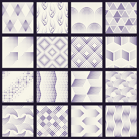 16 seamless patterns made of halftone-like sets of dots. Graphics are grouped and in several layers for easy editing. The file can be scaled to any size Vettoriali