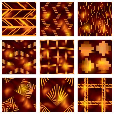 Set of elegant detailed brown and orange seamless patterns. Illustration