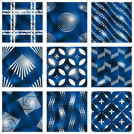 Set of elegant detailed blue and silver seamless patterns.