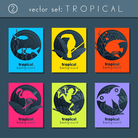 set of 6 minimalistic papercut designs with a tropical animals theme. US Letter size. Easily croppable to A4 size. Graphics are grouped and in several layers for easy editing. The file can be scaled to any size. Reklamní fotografie - 104038653