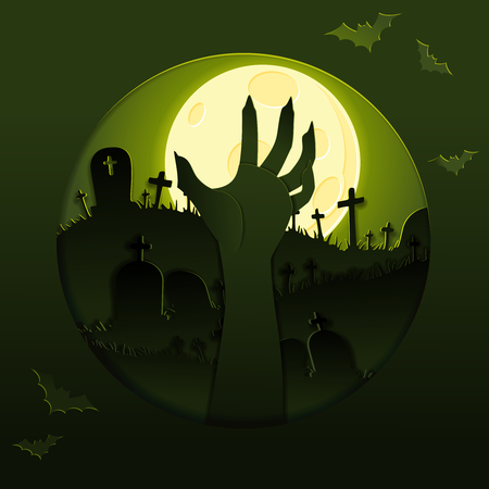 Spooky gold and green papercut design with a zombie arm silhouette. Graphics are grouped and in several layers for easy editing. The file can be scaled to any size. Reklamní fotografie - 107484021
