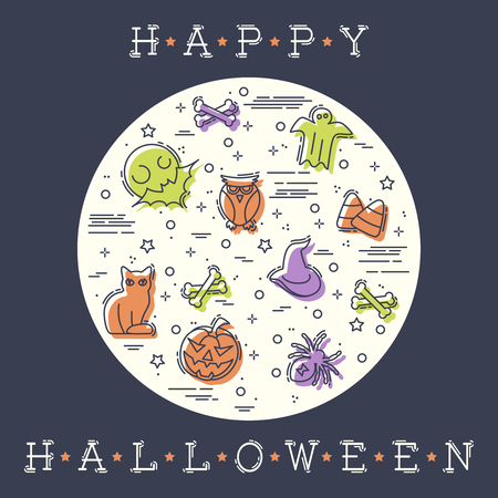 Colorful stylized illustration of thin line Halloween elements. Graphics are grouped and in several layers for easy editing. The file can be scaled to any size. Reklamní fotografie - 107484024