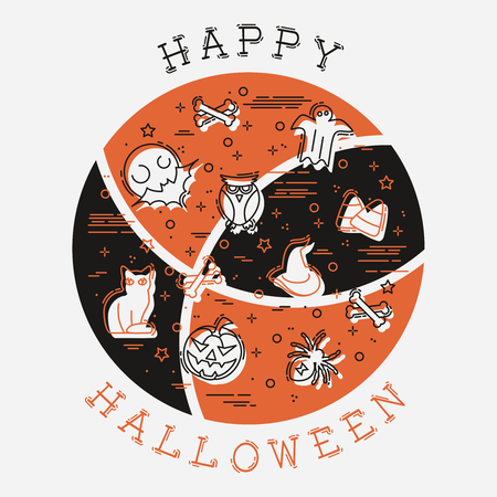 Orange and brown stylized illustration of thin line Halloween elements. Graphics are grouped and in several layers for easy editing. The file can be scaled to any size. 일러스트