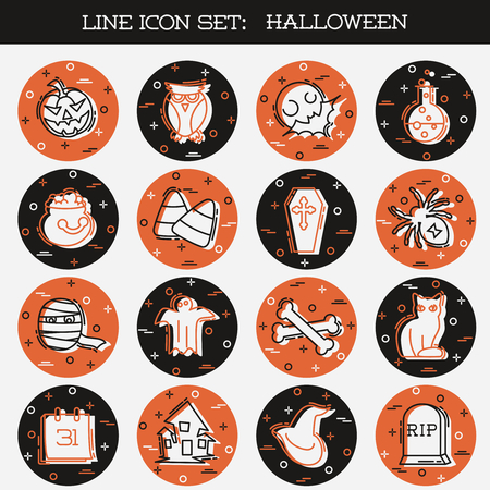 Set of 16 orange and brown thin line style flat icons with a Halloween theme. Graphics are grouped and in several layers for easy editing. The file can be scaled to any size. Reklamní fotografie - 107484027