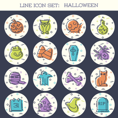 Set of 16 colorful thin line style flat icons with a Halloween theme. Graphics are grouped and in several layers for easy editing. The file can be scaled to any size. Reklamní fotografie - 107484029