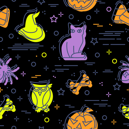Stylized pattern of Halloween elements in thin line style. Graphics are grouped and in several layers for easy editing. The file can be scaled to any size. 일러스트