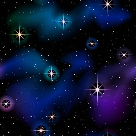 starry space background with sparkling stars and nebulae. Graphics are grouped and in several layers for easy editing. The file can be scaled to any size.