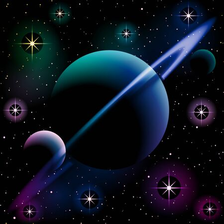 llustration of a planet with a ring and two moons, against a starry space background. Graphics are grouped and in several layers for easy editing. The file can be scaled to any size.
