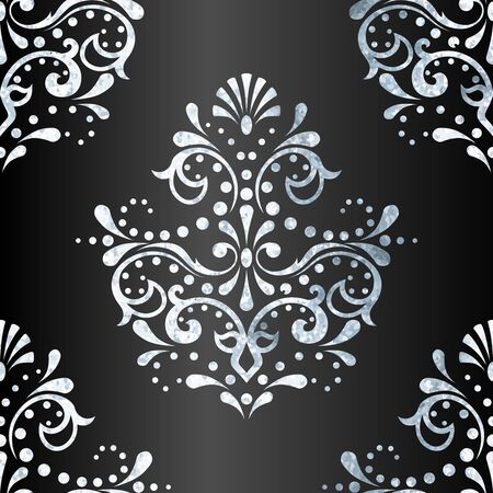 victorian pattern with detailed silver-leaf design on anthracite gradient background. Graphics are grouped and in several layers for easy editing. The file can be scaled to any size. Ilustrace