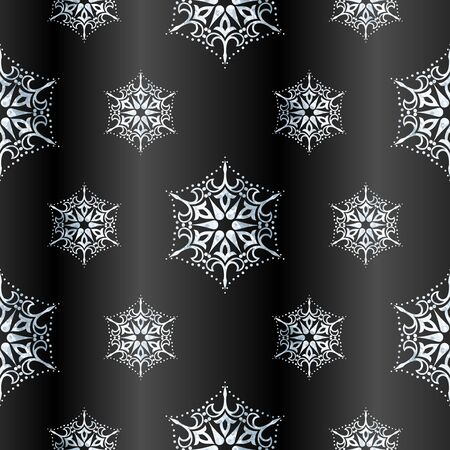 delicate winter pattern with detailed silver-leaf design on anthracite gradient background. Graphics are grouped and in several layers for easy editing. The file can be scaled to any size.