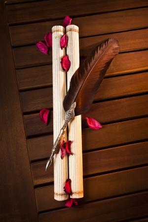 hojas: Pluma sobre pergamino