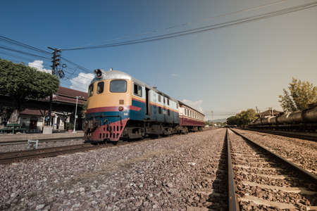 Old diesel train in railway station.Lampang,Thailand Editorial
