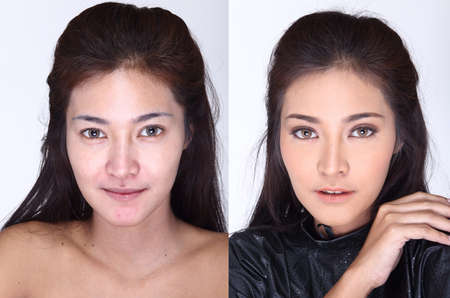 moles: Asian Woman before make up hair style. no retouch, fresh face with acne, skin moles.  Studio lighting white background