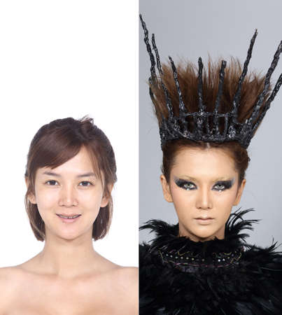 moles: Asian Woman before and after make up hair style. no retouch, fresh face with acne, skin moles, wart then good base and foundation cosmetic