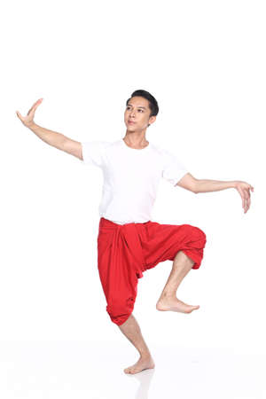 sanskrit: Asian Thai Tan Skin Man Classical Dance in white shirt red loincloth, Studio lighting white background isolated, many poses