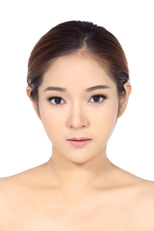moles: Asian Woman after make up. no retouch, fresh face with acne, skin moles, wart then good base and foundation cosmetic