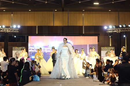 prom queen: Bangkok, Thailand - May 24, 2017 ;  Lifeford Enchanted Princess Bridal Makeup 2017, Final Round at Bangkok Convention Hall, wedding dress gown fashion show Editorial