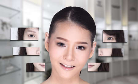 splitting up: Collage of Asian Woman make up hair style, plastic surgery, graphic face splitting difference visual style. Studio lighting blur clinic hospital background