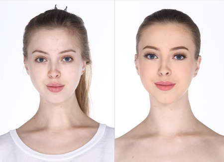 hair do: Caucasian Woman before after make up hair do. comparision no retouch, fresh face with acne then cosmetic foundation by professional artist in studio lighting white background