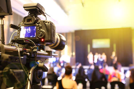 pageant: Video DSLR Camera social network live recording on interview session of contest Stock Photo