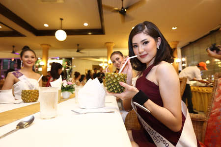 chang: Bangkok, Thailand - July 3, 2017 ; Camping Outting Trip of Miss Tourism Queen Thailand 2017 at Koh Chang, Trat. Dinner session with tropical fruit food