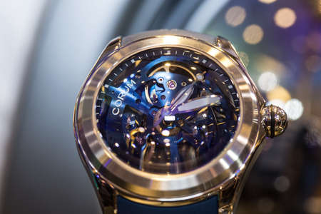 spotlight: Bangkok, Thailand - July 11, 2017 ; Fashion Show Siam Paragon Watch Expo 2017, press conference at event hall, Siam Paragon.  Present new collection from Bezel World Watch Editorial